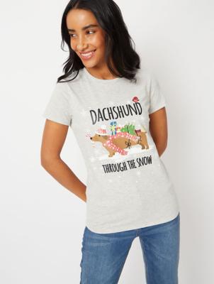 Grey Dachshund Slogan Christmas T-Shirt