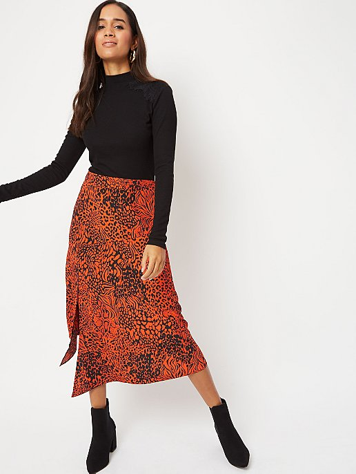 Red leopard print high waisted midi skirt, Women's Fashion