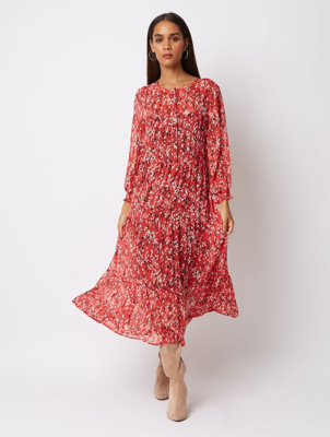 Red Tiered Speckle Midi Dress
