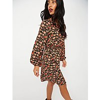 Black Ditzy Floral Long Sleeve Tea Dress by Asda