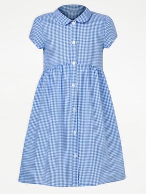 Girls Light Blue Gingham School Dress