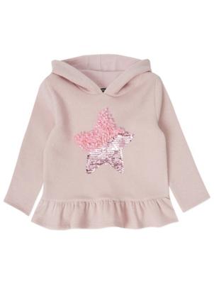 Pink Shimmering Swipe Sequin Hoodie