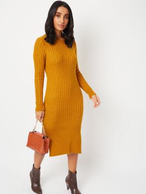 Dark Mustard Ribbed Midi Dress