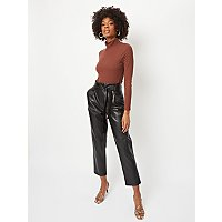 Black Faux Leather Paperbag Waist Trousers by Asda