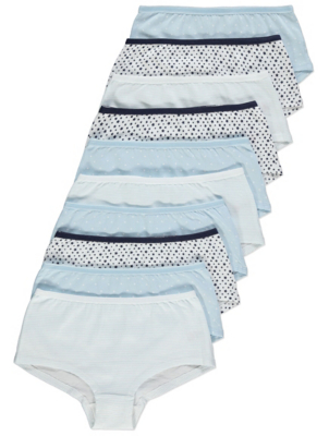 Blue Star Print Shorts 10 Pack