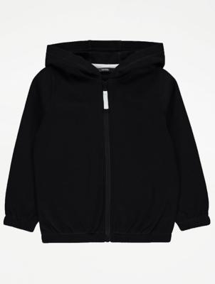 Black Zip Front Hoodie