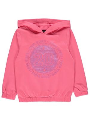Pink Glittering Slogan Hoodie