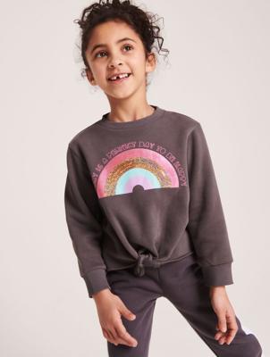 Grey Rainbow Tie Hem Sweatshirt