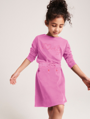 Pink Embroidered Slogan Sweatshirt Dress