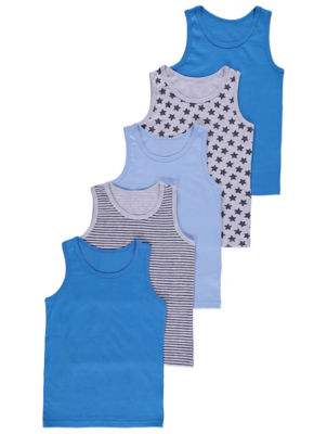 Blue Patterned Sleeveless Vests 5 Pack