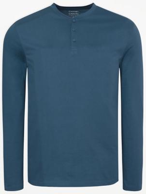 Blue Long Sleeve Grandad Neck Top