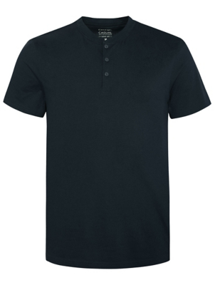 Navy Grandad Collar Short Sleeve T-Shirt