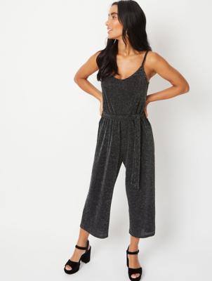Black Glitter Effect Strappy Culotte Jumpsuit