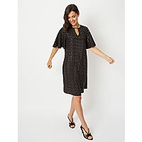 Black Foil Angel Sleeve Shift Dress by Asda