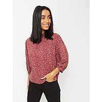 Burgundy Floral Print Blouson Sleeve Blouse by Asda