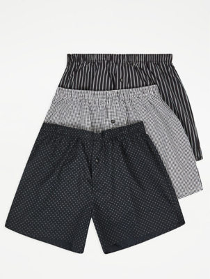 Black Patterned Woven Boxers 3 Pack