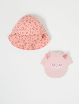 Pink Cat Cap and Keppi Hat 2 Pack