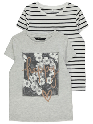 Glittering Light Grey Slogan T-Shirts 2 Pack