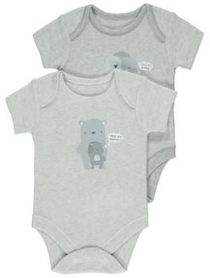 Grey Mummy and Daddy Slogan Bodysuits 2 Pack