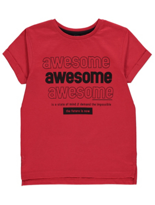 Red Awesome Slogan Graphic T-Shirt
