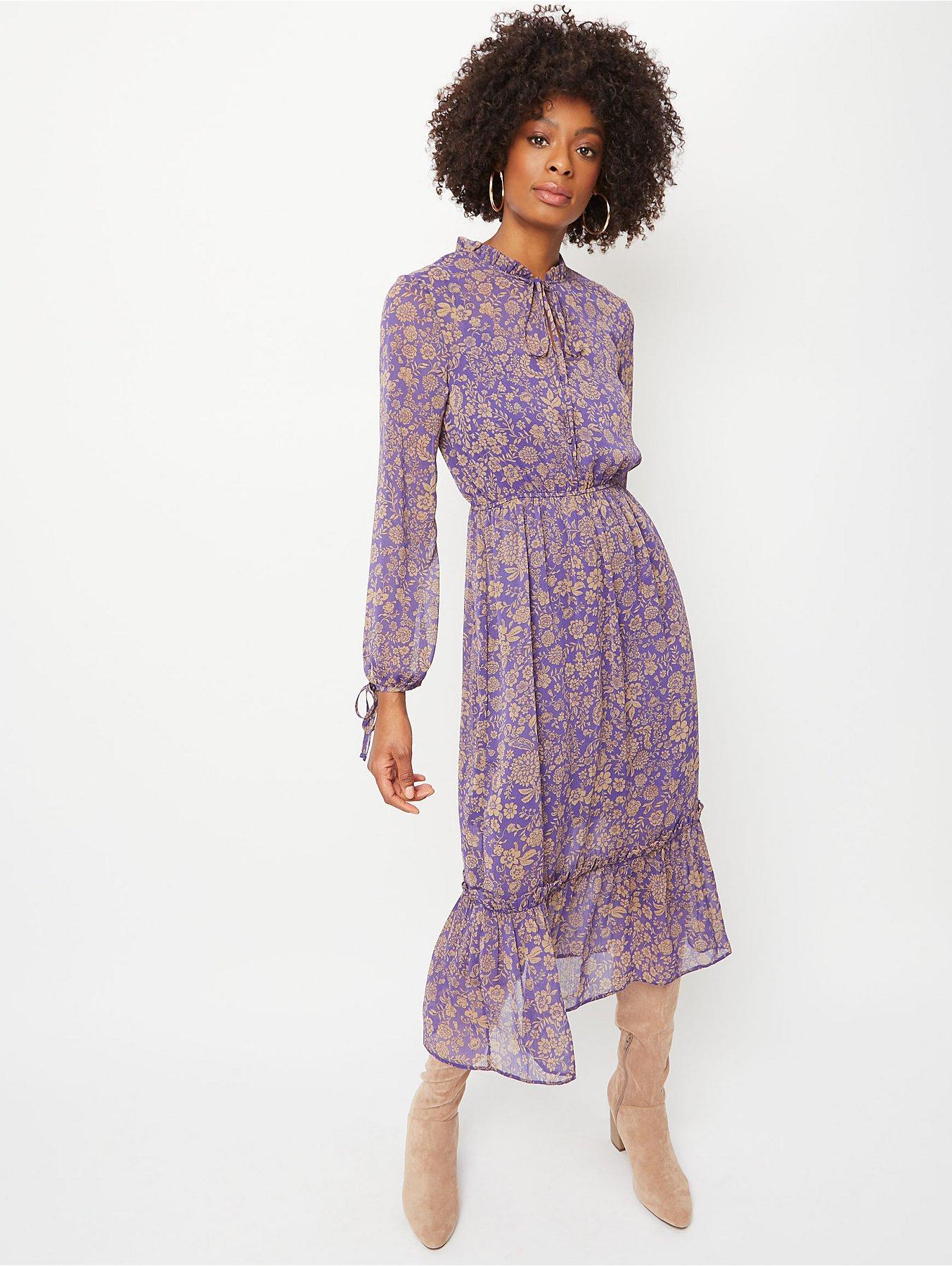 cheaper various colors best online Purple Floral Ruffle Neck Tiered Hem Midi Dress   Women   George