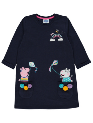 Peppa Pig Navy Pom Pom Sweatshirt Dress