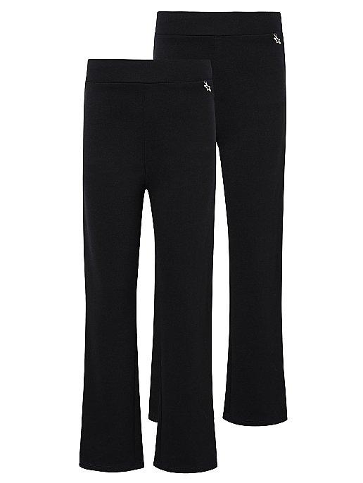 Girls Black Longer Length Jersey School Trousers 2 Pack