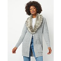 Grey Ribbed Longline Faux Fur Collar Cardigan by Asda