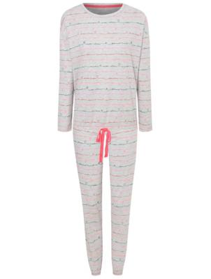 Grey French Slogan Print Pyjamas