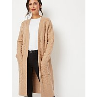 Beige Cable Knit Longline Cardigan by Asda