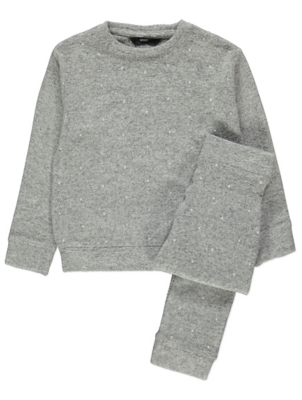 Grey Marl Faux Pearl Studded Sweatshirt and Joggers Outfit