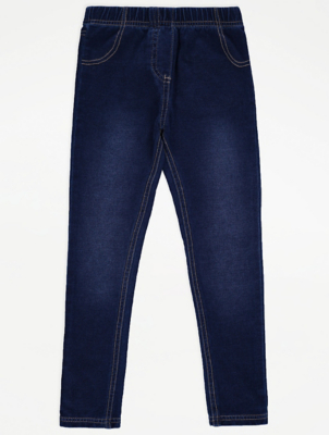Dark Wash Denim Jersey Jeggings