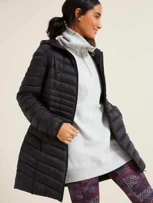 Black Padded Longline Packable Coat