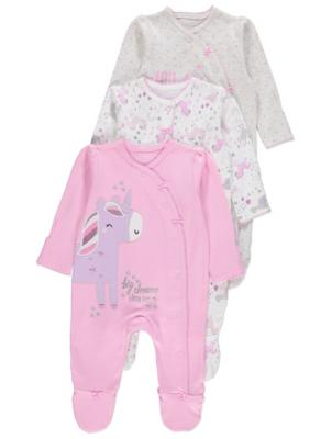 Pink Unicorn Print Sleepsuits 3 Pack