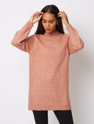 Pink Textured Longline Jumper