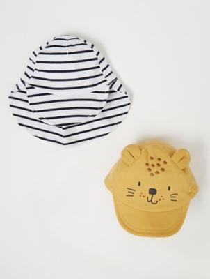 Lion Cap and Striped Keppi Hat 2 Pack