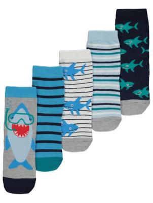 Shark Print Ankle Socks 5 Pack
