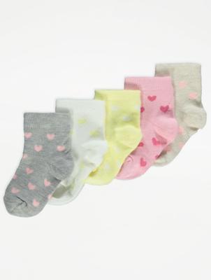 Heart Print Socks 5 Pack