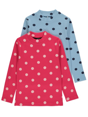 Polka Dot Ribbed Long Sleeve Tops 2 Pack