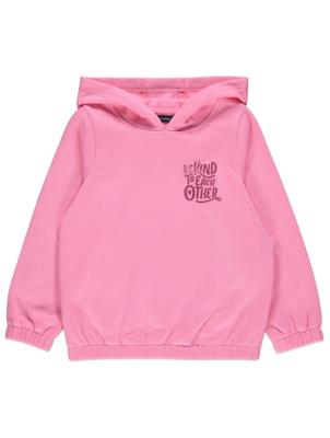 Pink Glitter Slogan Long Sleeve Hoodie