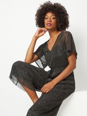 Black Shimmering Plisse Jumpsuit