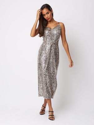 Silver Effect Sequin Leopard Print Midaxi Dress