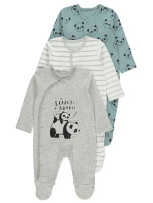 Grey Panda Print Sleepsuits 3 Pack