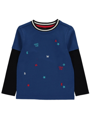 Blue Awesome Slogan Contrast Long Sleeve Top