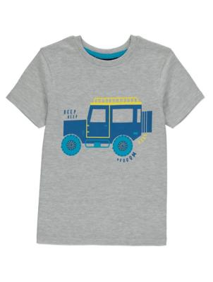 Grey Truck Graphic Short Sleeve T-Shirt
