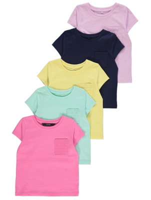 Pastel Broderie Anglaise Pocket T-Shirts 5 Pack