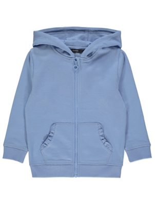 Pale Blue Frilled Pocket Zip Through Hoodie