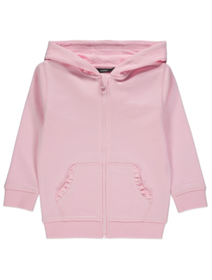 Pale Pink Frilled Pocket Zip Through Hoodie