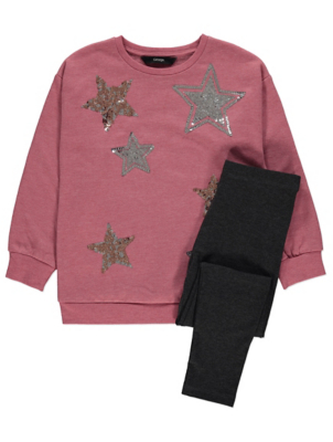 Dusty Pink Sequin Star Sweatshirt and Grey Leggings Outfit