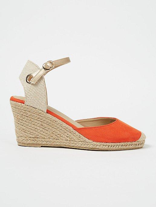 50% price most popular new release Orange Espadrille Wedge Heel Slingback Sandals | Women | George